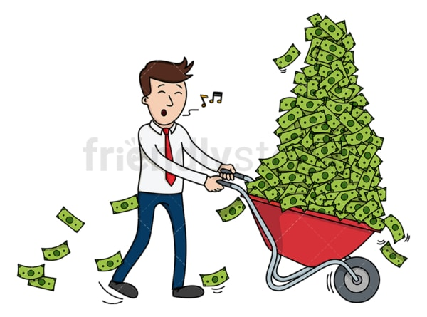 Businessman pushing wheelbarrow of cash. PNG - JPG and vector EPS (infinitely scalable).