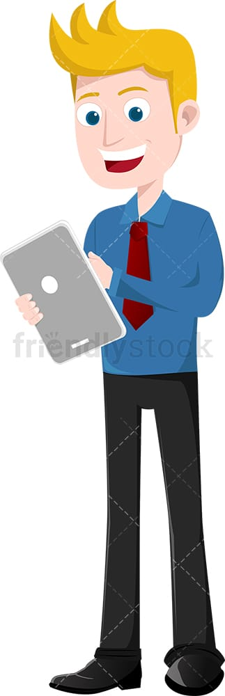 Businessman using tablet and smiling broadly. PNG - JPG and vector EPS file formats (infinitely scalable). Image isolated on transparent background.