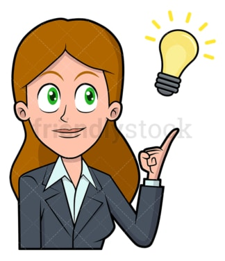 Businesswoman with fascinating new idea. PNG - JPG and vector EPS file formats (infinitely scalable). Image isolated on transparent background.
