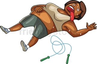 Cartoon overweight black woman exhausted after working out. PNG - JPG and vector EPS file formats (infinitely scalable). Image isolated on transparent background.