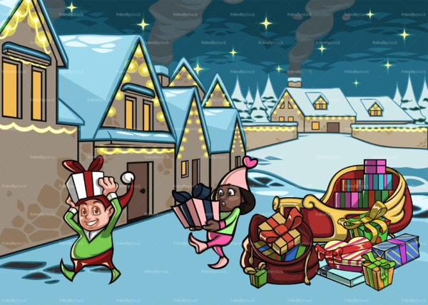 Christmas elves getting presents off of santa's sleigh. PNG - JPG and vector EPS file formats (infinitely scalable). Image isolated on transparent background.