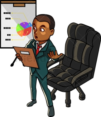 Corporate black man presenting at meeting. PNG - JPG and vector EPS file formats (infinitely scalable). Image isolated on transparent background.