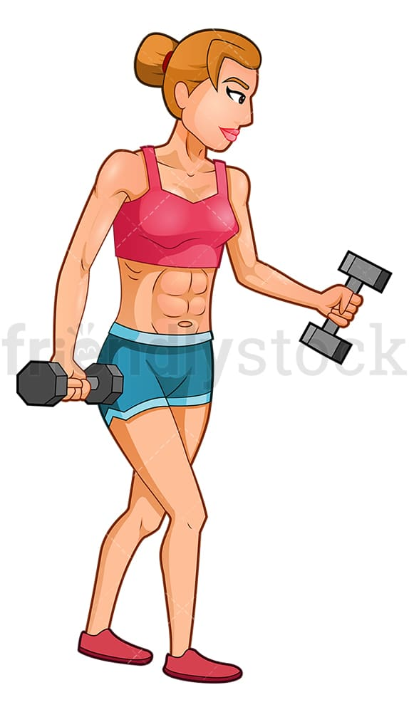 Female bodybuilder bicep curls with dumbbells. PNG - JPG and vector EPS (infinitely scalable).