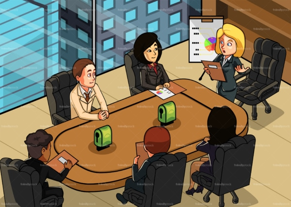 Female ceo at an office meeting with colleagues. PNG - JPG and vector EPS file formats (infinitely scalable). Image isolated on transparent background.