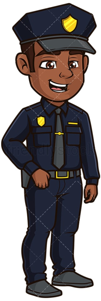 Friendly black police officer. PNG - JPG and vector EPS file formats (infinitely scalable). Image isolated on transparent background.