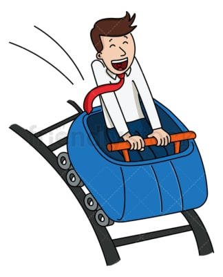 Happy businessman roller coaster ride. PNG - JPG and vector EPS file formats (infinitely scalable). Image isolated on transparent background.