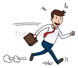 Happy businessman walking fast. PNG - JPG and vector EPS file formats (infinitely scalable). Image isolated on transparent background.