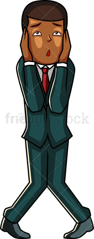 Hopeless black businessman. PNG - JPG and vector EPS file formats (infinitely scalable). Image isolated on transparent background.