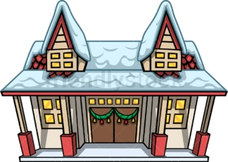 House covered in snow. PNG - JPG and vector EPS file formats (infinitely scalable). Image isolated on transparent background.