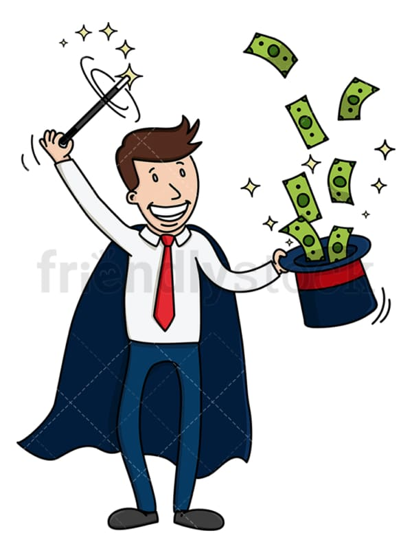 Magician man magically making money. PNG - JPG and vector EPS (infinitely scalable).