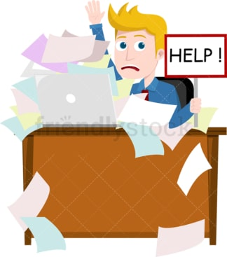 Man drowning in paperwork at his desk. PNG - JPG and vector EPS file formats (infinitely scalable). Image isolated on transparent background.
