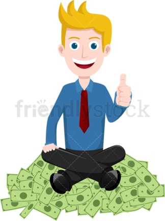 Man on pile of money giving the thumbs up. PNG - JPG and vector EPS file formats (infinitely scalable). Image isolated on transparent background.