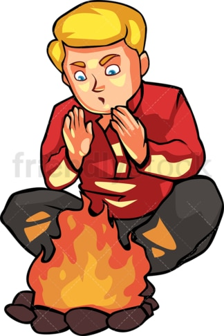 Man warming his hands by the campfire. PNG - JPG and vector EPS file formats (infinitely scalable). Image isolated on transparent background.