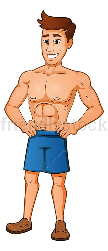 Muscle man posing showing off his physique. PNG - JPG and vector EPS (infinitely scalable).