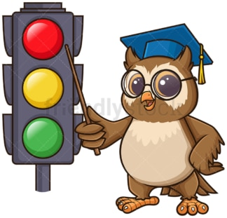 Owl teacher teaching traffic lights. PNG - JPG and vector EPS (infinitely scalable).