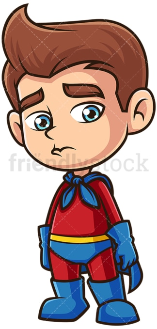 Sad superhero boy. PNG - JPG and vector EPS (infinitely scalable).