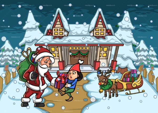 Santa giving present to little girl. PNG - JPG and vector EPS file formats (infinitely scalable). Image isolated on transparent background.