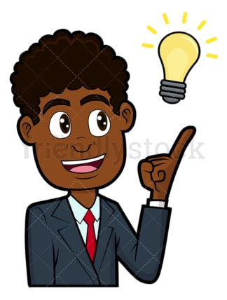Smart black businessman just had new idea. PNG - JPG and vector EPS file formats (infinitely scalable). Image isolated on transparent background.
