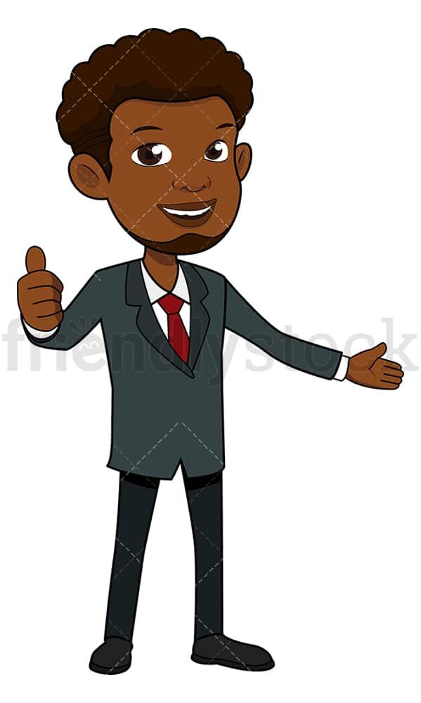 Smiling black businessman thumbs up. PNG - JPG and vector EPS file formats (infinitely scalable). Image isolated on transparent background.