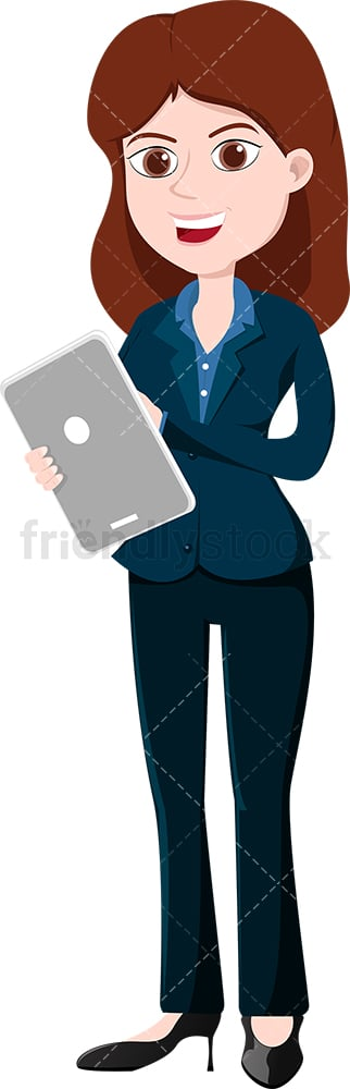 Smiling businesswoman holding tablet. PNG - JPG and vector EPS file formats (infinitely scalable). Image isolated on transparent background.