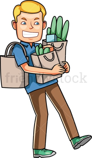 Struggling man carrying groceries. PNG - JPG and vector EPS file formats (infinitely scalable). Image isolated on transparent background.