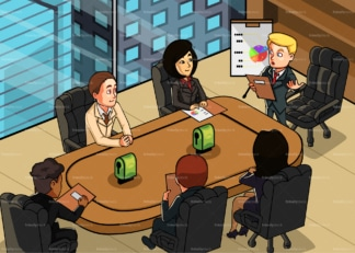 Team of executives having a business meeting. PNG - JPG and vector EPS file formats (infinitely scalable). Image isolated on transparent background.