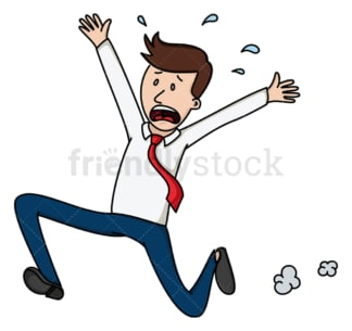 Terrified businessman running away. PNG - JPG and vector EPS file formats (infinitely scalable). Image isolated on transparent background.