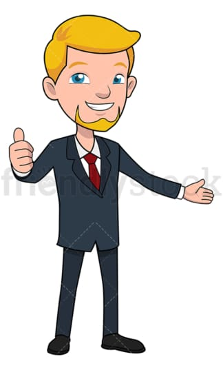 Welcoming businessman giving the thumbs up. PNG - JPG and vector EPS file formats (infinitely scalable). Image isolated on transparent background.