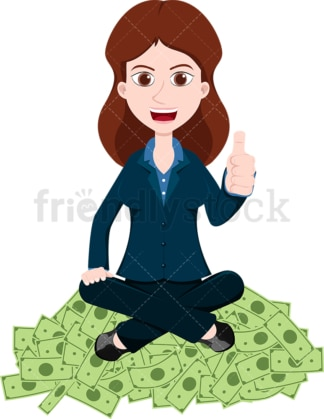 Woman giving the thumbs up atop pile of money. PNG - JPG and vector EPS file formats (infinitely scalable). Image isolated on transparent background.