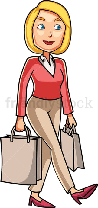 Woman holding shopping bags. PNG - JPG and vector EPS file formats (infinitely scalable). Image isolated on transparent background.