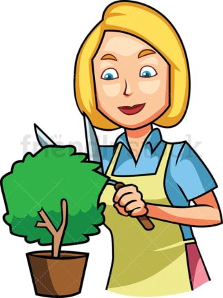 Woman trimming a small plant. PNG - JPG and vector EPS file formats (infinitely scalable). Image isolated on transparent background.