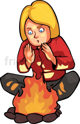 Woman warming her hands by the campfire. PNG - JPG and vector EPS file formats (infinitely scalable). Image isolated on transparent background.