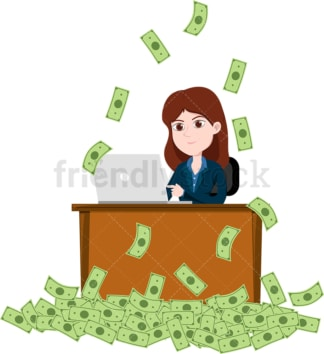 Woman working on laptop while money fall down all around. PNG - JPG and vector EPS file formats (infinitely scalable). Image isolated on transparent background.