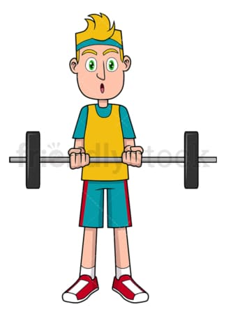 Young man lifting barbell. PNG - JPG and vector EPS file formats (infinitely scalable). Image isolated on transparent background.