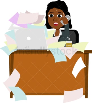 An overwhelmed black womAn at the office. PNG - JPG and vector EPS file formats (infinitely scalable). Image isolated on transparent background.