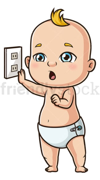 Baby boy near plug. PNG - JPG and vector EPS (infinitely scalable).