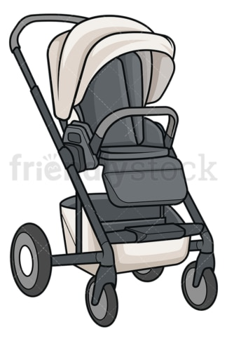 Black baby stroller. PNG - JPG and vector EPS file formats (infinitely scalable). Image isolated on transparent background.