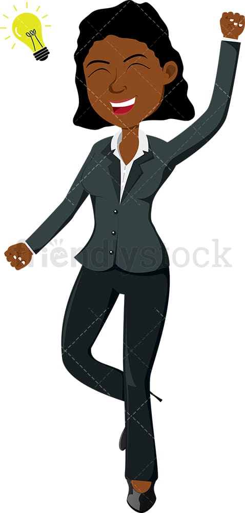Black businesswoman coming up with great idea. PNG - JPG and vector EPS file formats (infinitely scalable). Image isolated on transparent background.