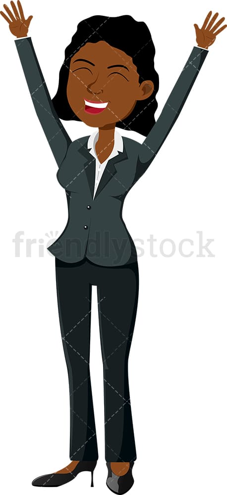 Black female professional with her hands up in the air. PNG - JPG and vector EPS file formats (infinitely scalable). Image isolated on transparent background.