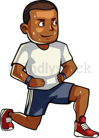 Black man doing lunges. PNG - JPG and vector EPS file formats (infinitely scalable). Image isolated on transparent background.