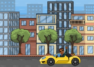 Black man driving car in the city. PNG - JPG and vector EPS file formats (infinitely scalable). Image isolated on transparent background.