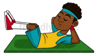 Black man exercising his abs. PNG - JPG and vector EPS file formats (infinitely scalable). Image isolated on transparent background.