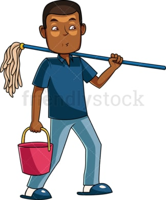 Black man holding floor mop. PNG - JPG and vector EPS file formats (infinitely scalable). Image isolated on transparent background.