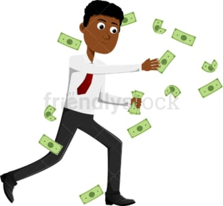 Black man trying to catch money. PNG - JPG and vector EPS file formats (infinitely scalable). Image isolated on transparent background.