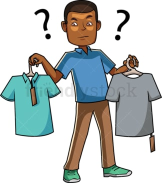 Black man trying to choose between t-shirts. PNG - JPG and vector EPS file formats (infinitely scalable). Image isolated on transparent background.