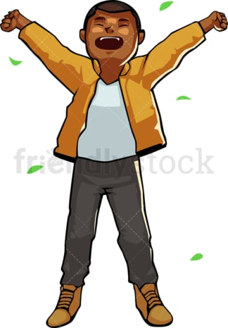 Black man waking up after stay outdoors. PNG - JPG and vector EPS file formats (infinitely scalable). Image isolated on transparent background.