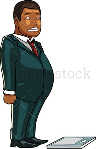 Black overweight man on scale. PNG - JPG and vector EPS file formats (infinitely scalable). Image isolated on transparent background.