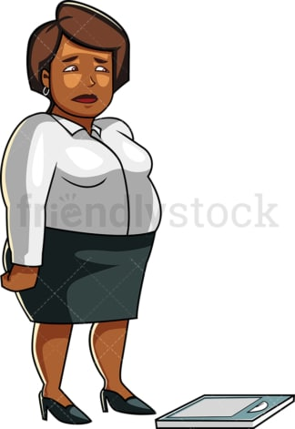 Black overweight woman on scale. PNG - JPG and vector EPS file formats (infinitely scalable). Image isolated on transparent background.