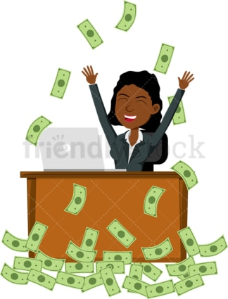 Black woman celebrating as she's making money online. PNG - JPG and vector EPS file formats (infinitely scalable). Image isolated on transparent background.
