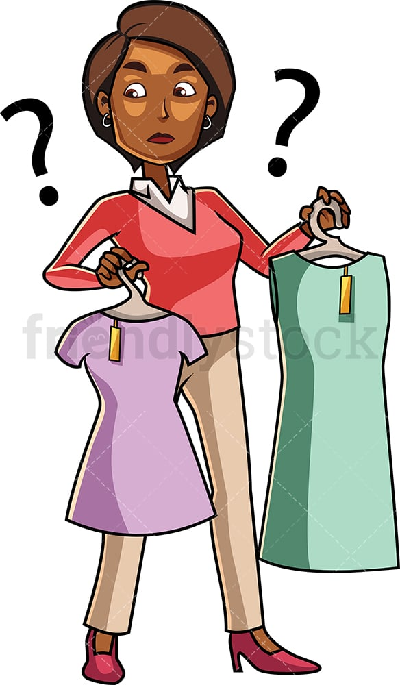 Black woman choosing between products. PNG - JPG and vector EPS file formats (infinitely scalable). Image isolated on transparent background.